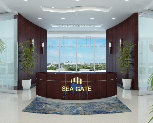 3D Reception Desk - Sea Gate Properties in Fort Lauderdale, Florida