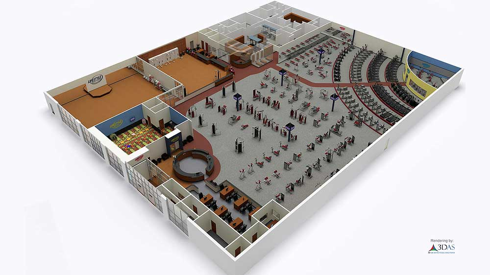 3D Floorplan for Gym in Sarasota, Florida
