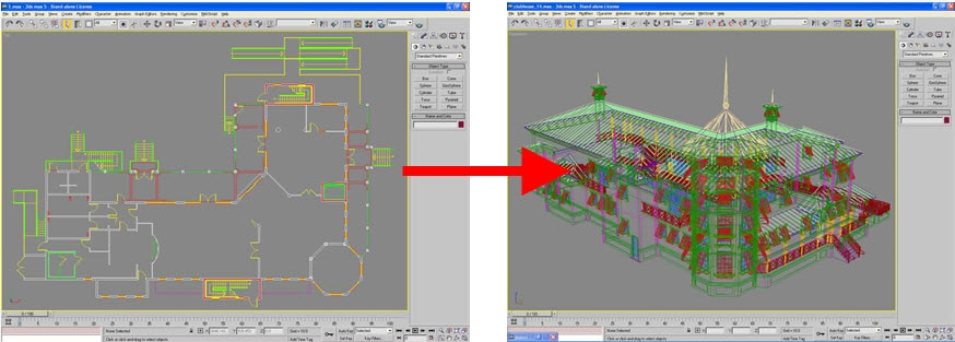 convert architectural autocad linework to 3d