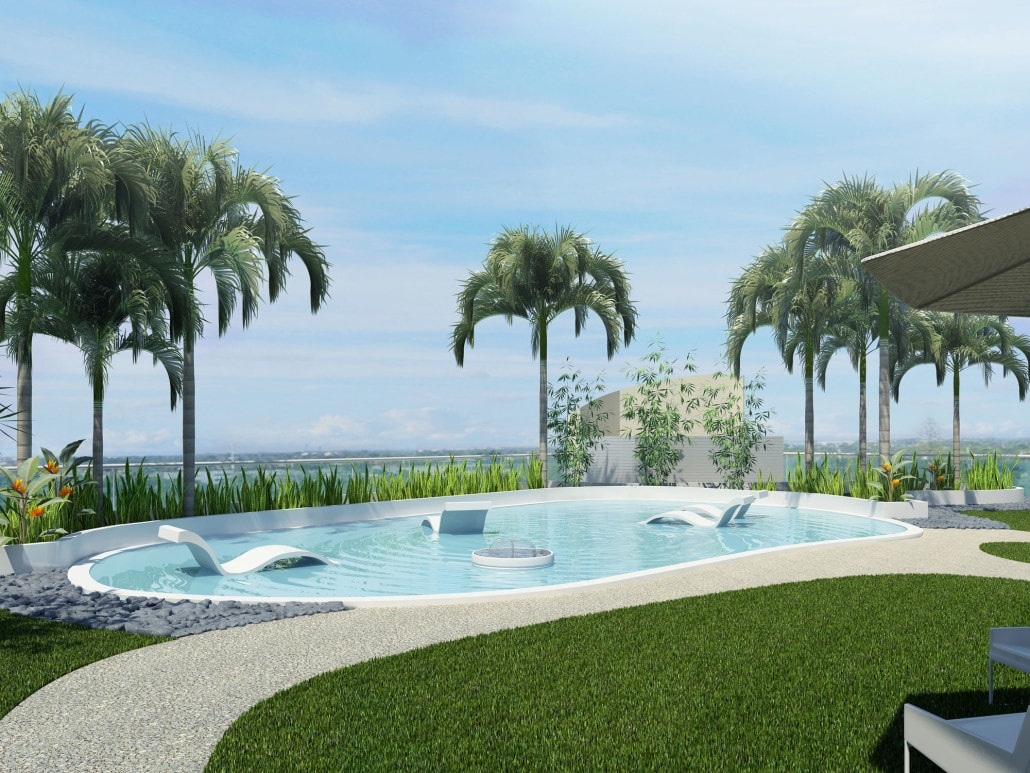 Garden Area Pool on Roof Seagate Properties in Fort Lauderdale, Florida