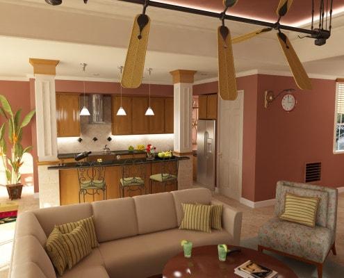 Savannah Living Room Overlooking Kitchen in Sarasota, Florida