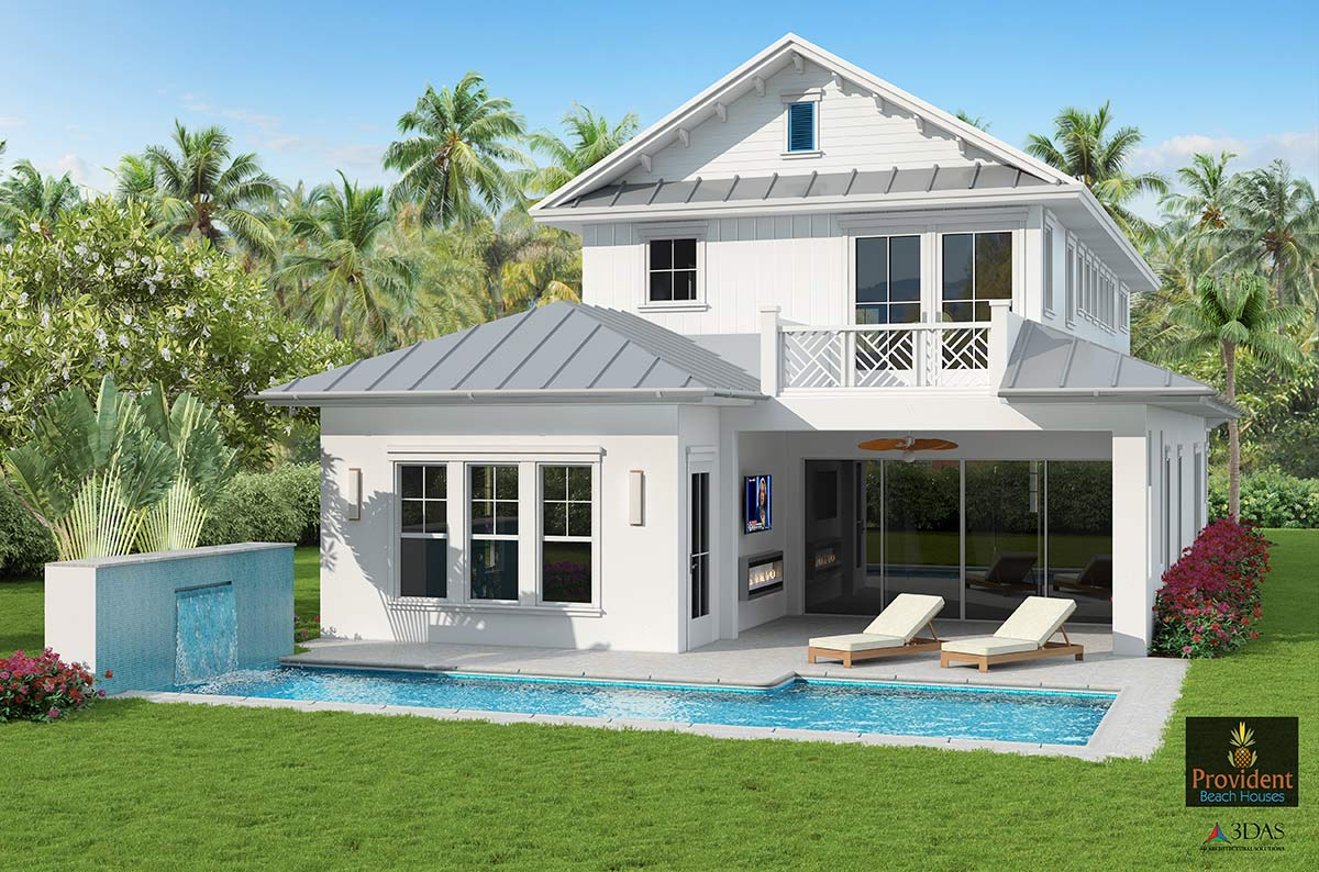 Naples 3D Beach Residential - Rear View Residential (in Naples, Florida)