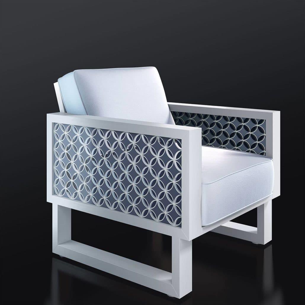 White Leather Chair, Blue Circles - Twist Modern