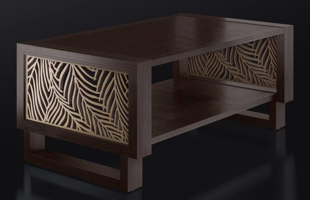 Espresso Coffee Table with Wispy Palm Cutout
