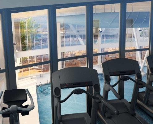 Sun N Fun Exercise Room Overlooking Pool in Sarasota, Florida