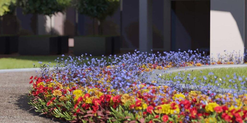 Flower Detail around Kalea Bay tower fountain in Naples Florida. 3D rendering by 3DAS