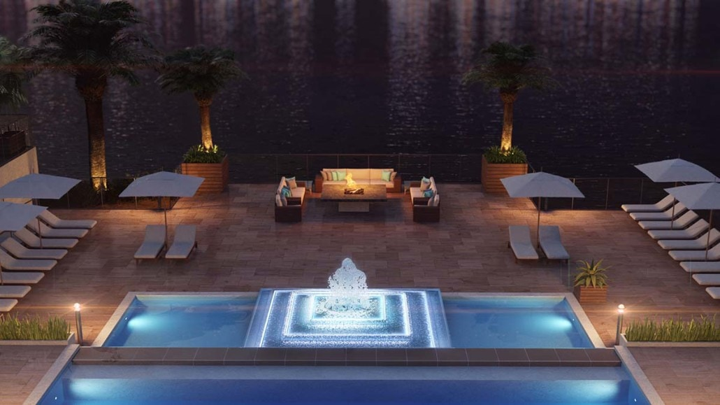Kalea Bay Clubhouse Nighttime Fire Pit 3D Area in Naples, Florida