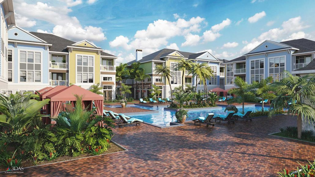 Residential Pool Resort Area for The Floridian in Venice Florida