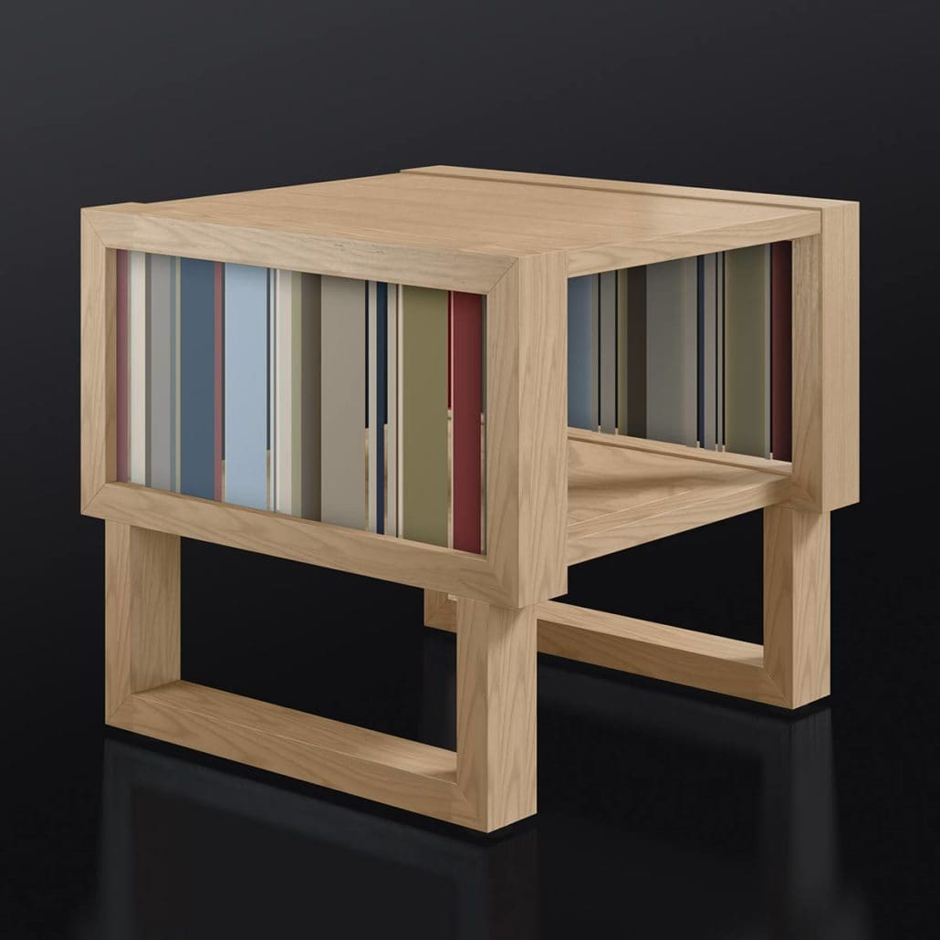 Natural Wood Side Table with Acrylic Bars