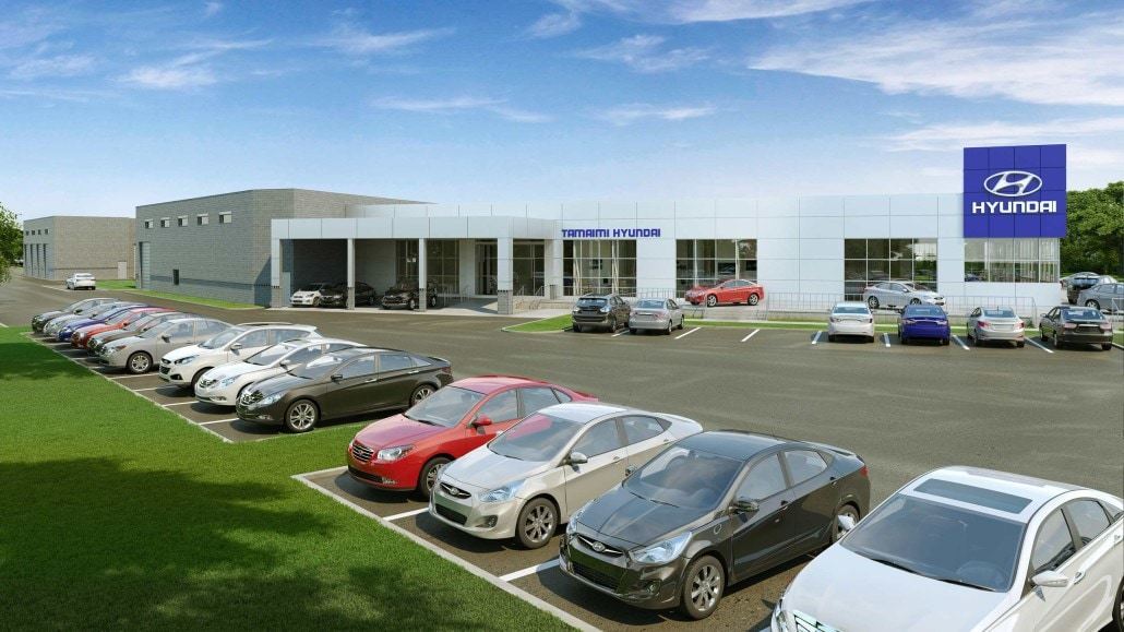 Tamiami Hyundai Commercial Car Dealership in Naples Florida - 3D Rendering