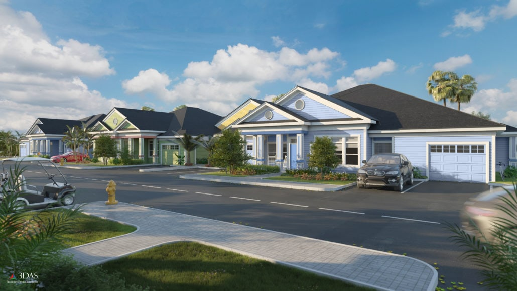 Exterior 3D Rendering of the Villas in The Floridian located in Venice Florida (South Sarasota)