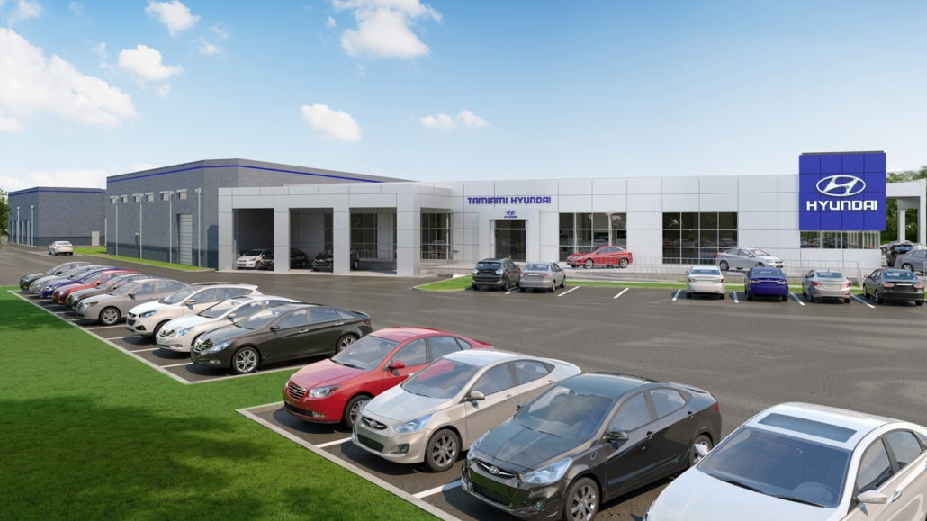 Tamiami Hyundai in Naples - 3D Rendering Commercial Site View