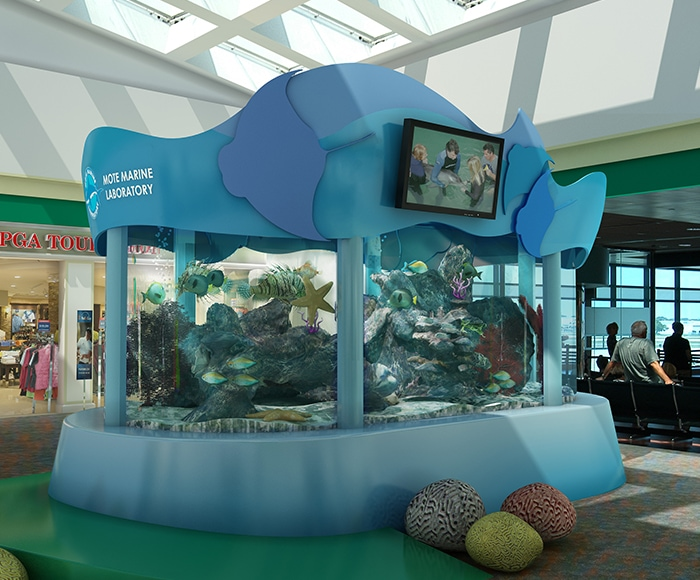 MOTE Marina Display - SRQ Airport in Sarasota - 3D Rendering