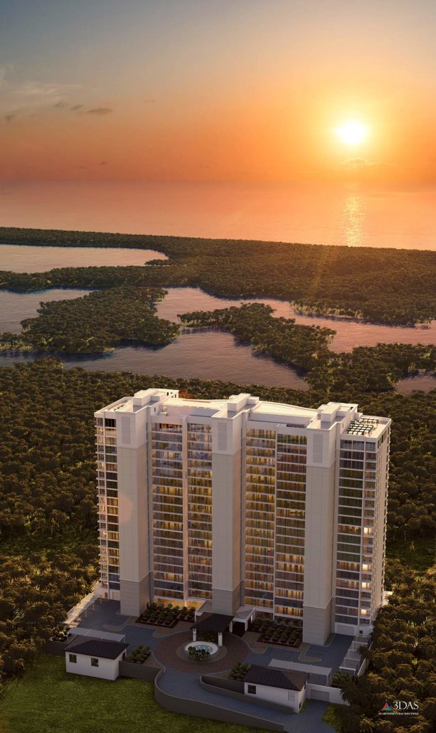 Kalea Bay Sunset Luxury Tower Aerial Overlooking Wiggins Pass (in Naples, Florida near Bonita Springs, FL). 3D Rendering by 3DAS