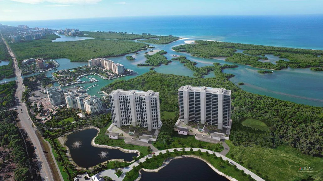 Kalea Bay 3D Rendering of Two Towers and Vegetation Overlay Drone Aerial Photo