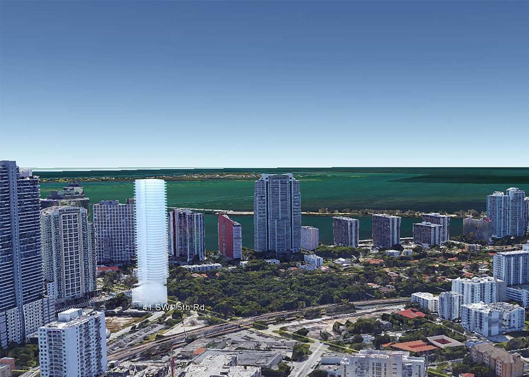 Architectural Mass Models (Fort Lauderdale) - 3D Rendering Overlaying Google Map