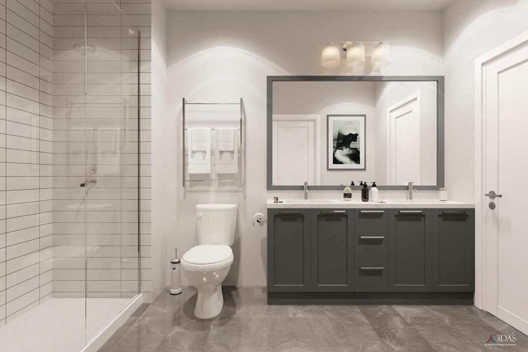 55 South Market Bathroom 3D Rendering is located in Asheville, North Carolina