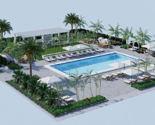 3D Exterior Resort Pool Floorplan - Alister Boca Raton Florida