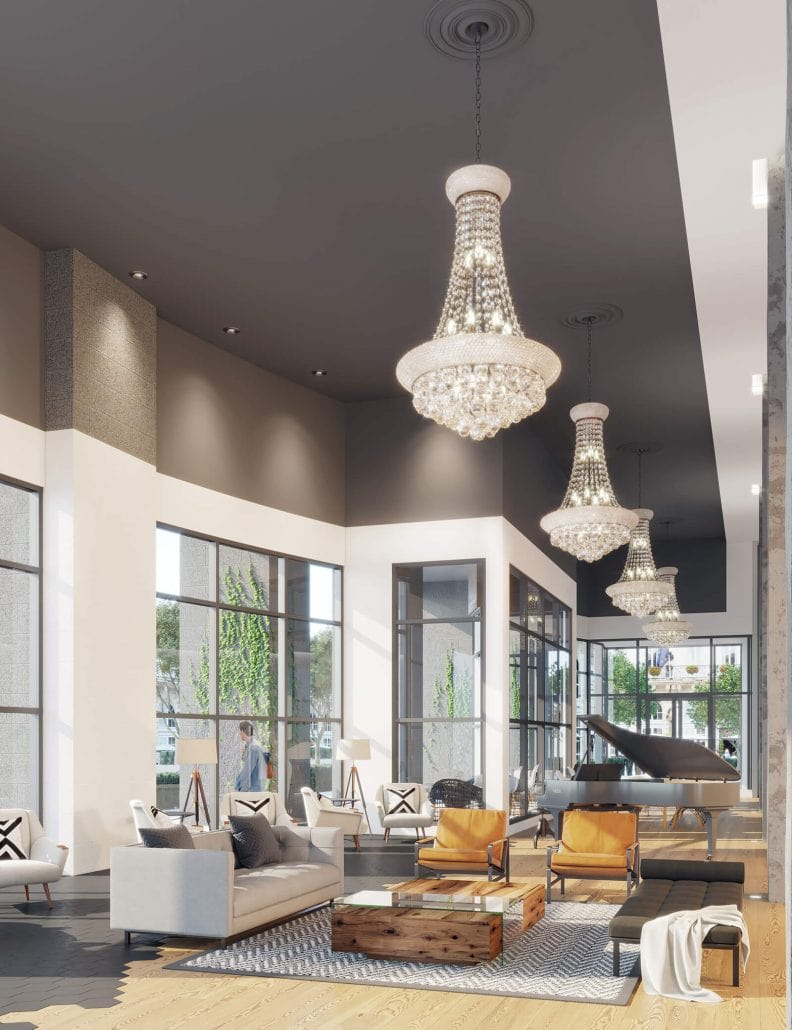 Elan Halcyon is located in Alpharetta, Georgia. 3D interior rendering by 3DAS,