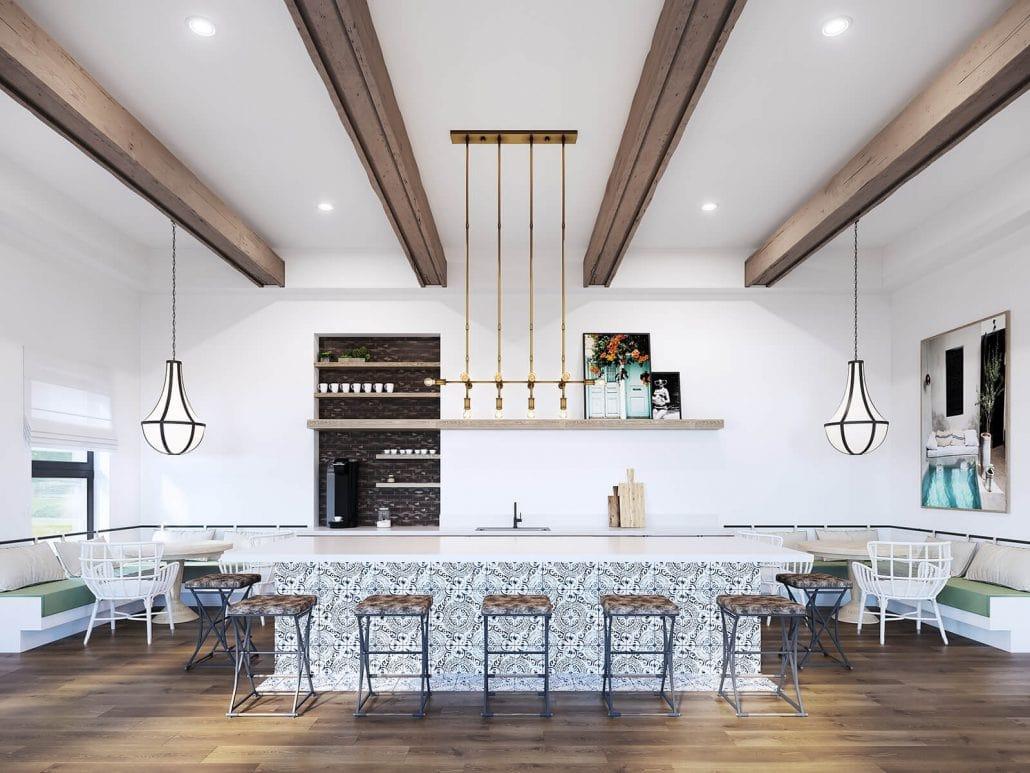 Modern boutique apartment community kitchen interior 3D rendering