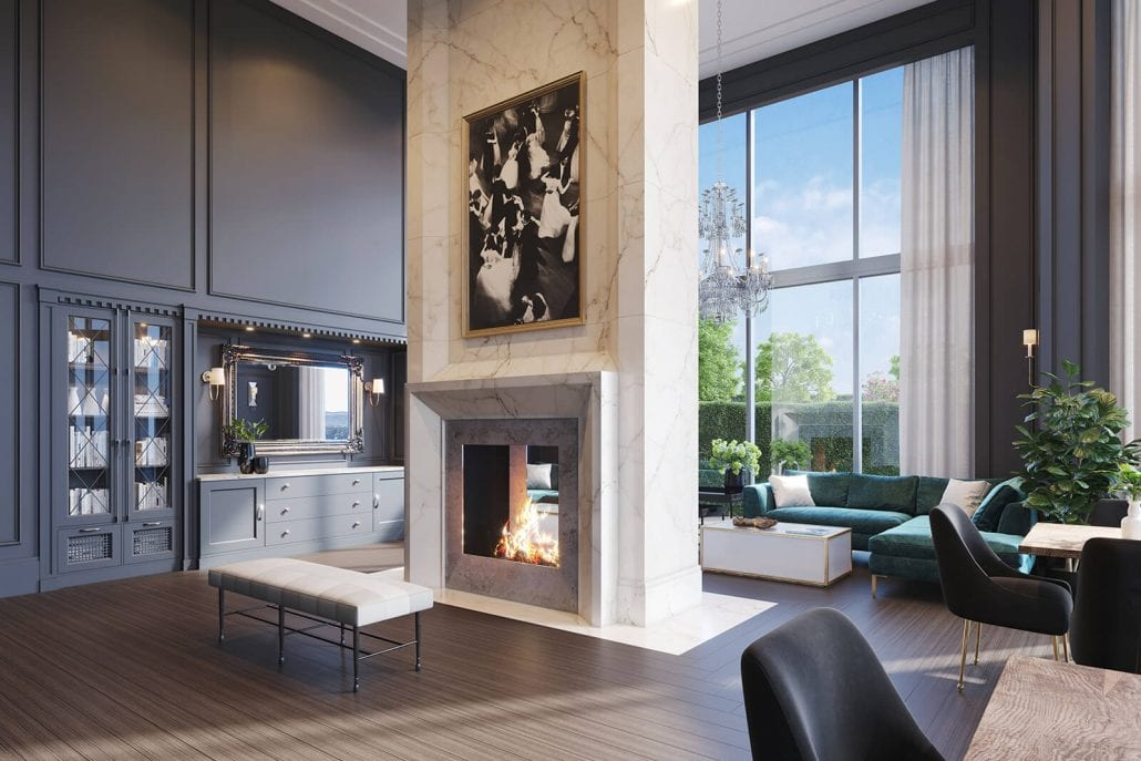 Clubroom 3D Render Interior at The Huntley on Park Avenue in Atlanta, Georgia