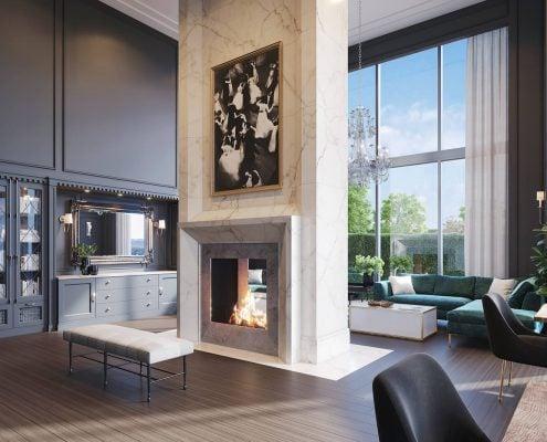 Clubroom 3D Render Interior at The Huntley on Park Avenue in Atlanta, Georgia