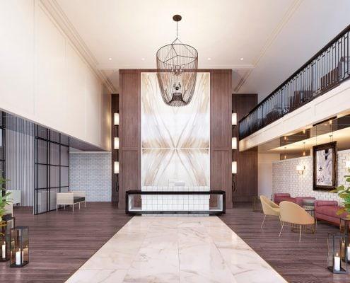 Lobby Interior 3D Render at The Huntley on Park Avenue in Atlanta, Georgia