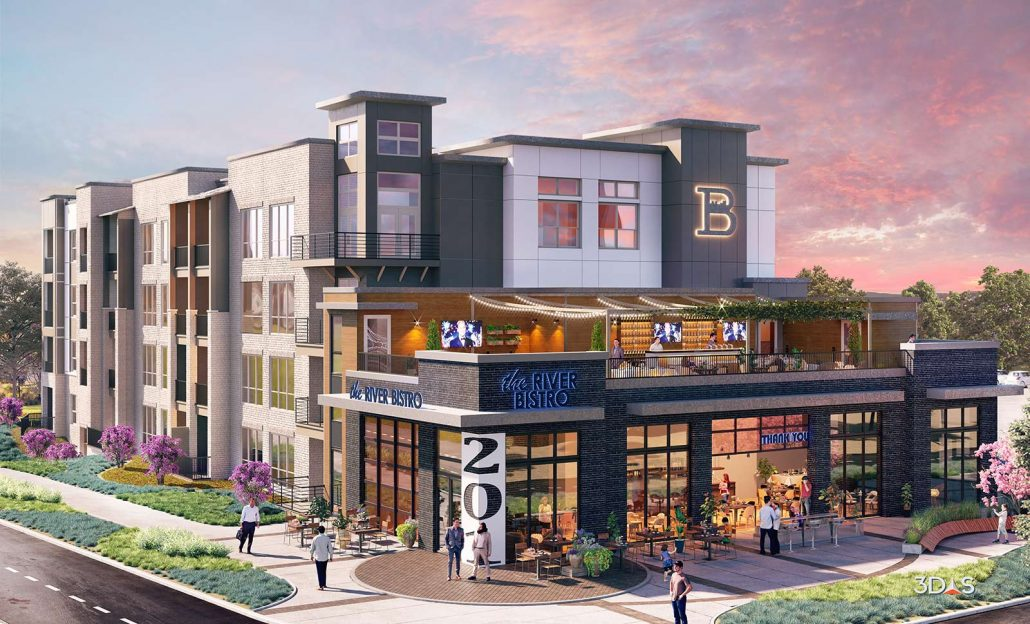 Brookland Building 1 Exterior 3D Rendering in Sunset / Evening. Project located West Columbia, South Carolina