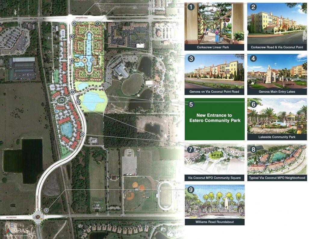 Genova in Estero Florida draft (not final) site map and callouts for an Estero Council board meeting.