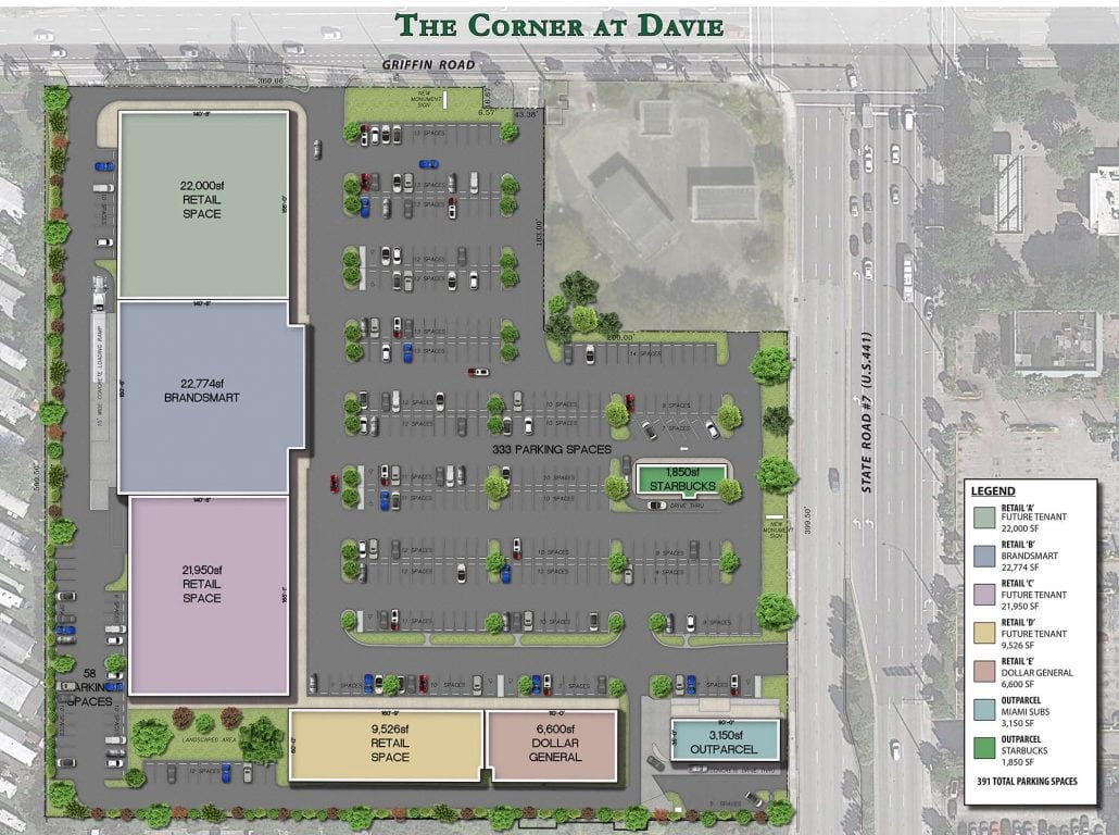 Top-down view colored site map and floorplan of the Corner at Davie.
