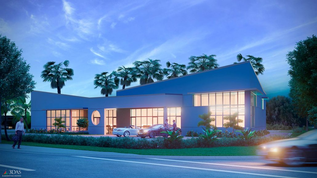 3D Commercial Building Evening / Dusk located in 2131 Stickney Point Rd Sarasota, FL 34231