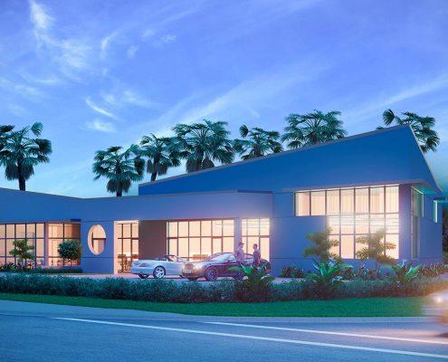 3D Commercial Building Evening