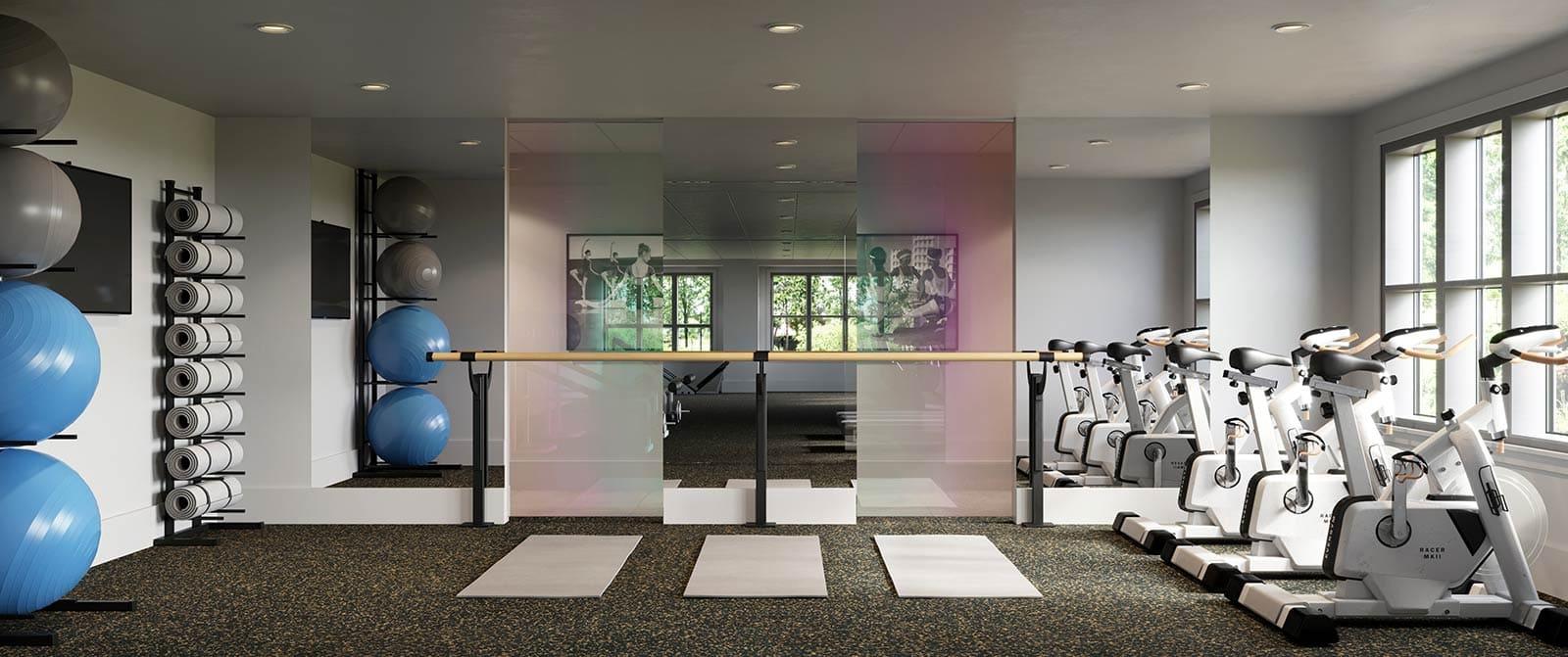 Cambridge Park Apartments Interior gym is located in Cambridge, Massachusetts