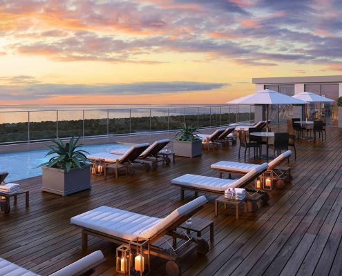 3D Evening Rooftop Pool Overlooking Gulf of Mexico: Kalea Bay