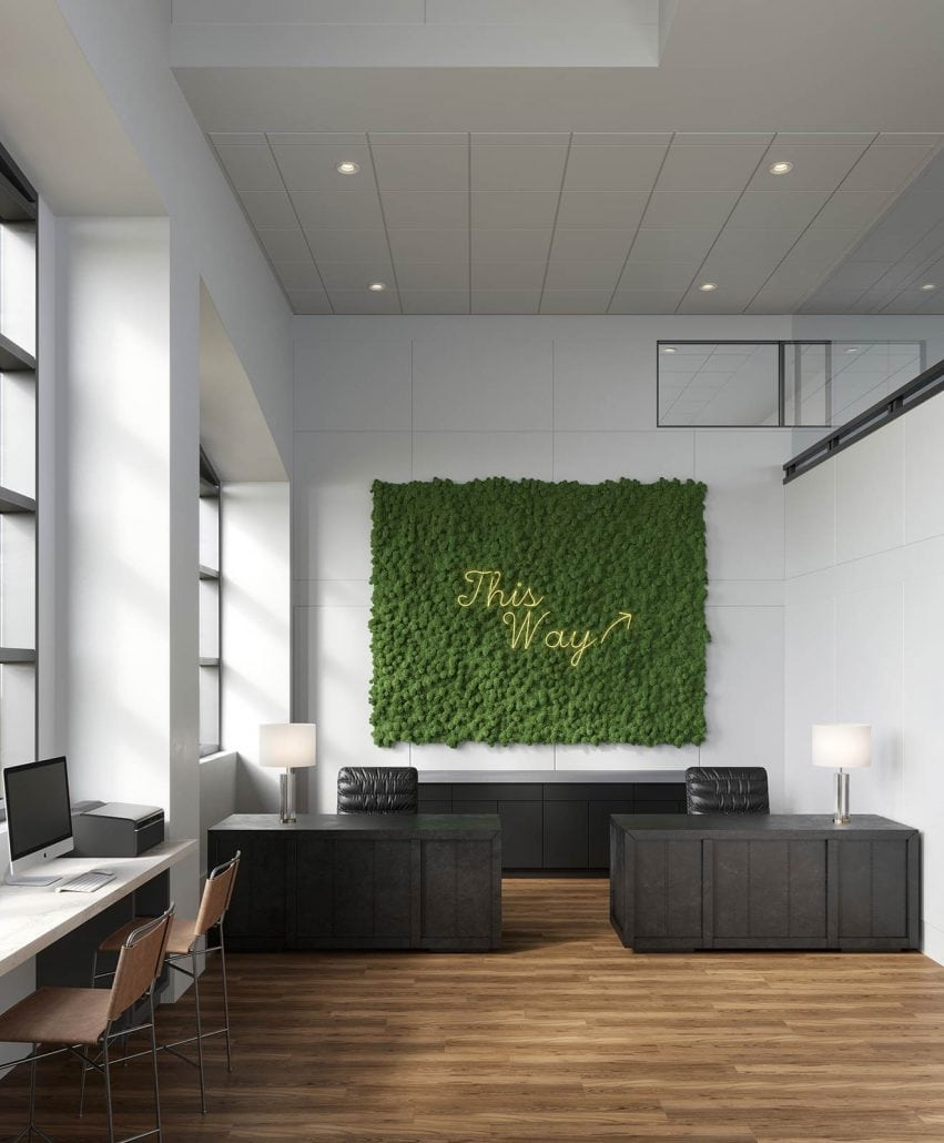 Cambridge Park 2-story lobby Interior 3d rendering