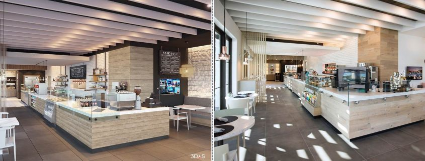 Bistro 3D Rendering (Left) and Photo (Right) in Kalea Bay, Naples, Florida