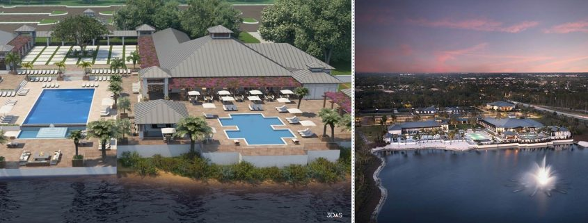 Kalea Bay Aerial Clubhouse 3D Rendering (Left) and Sunset Photo (Right)