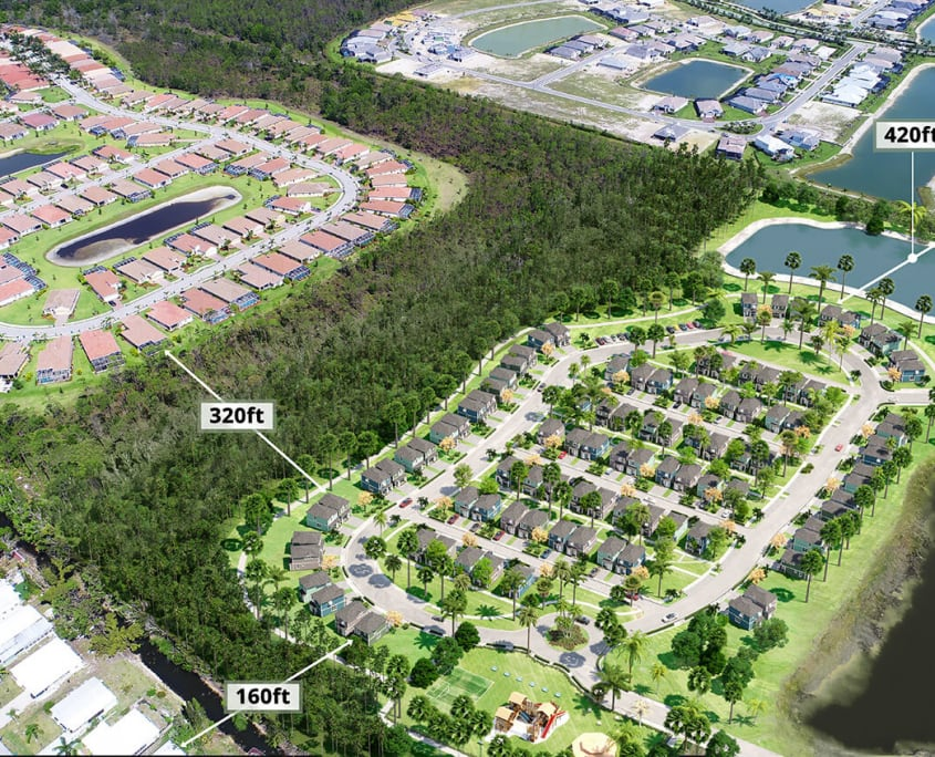 Collier Habitat Used 3D Aerial Rendering Showing Distance from Regal II to Nearby Naples Communities