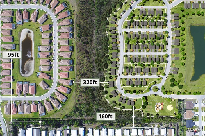 3D site map aerial rendering of Habitat for Humanity Regal II with measurements