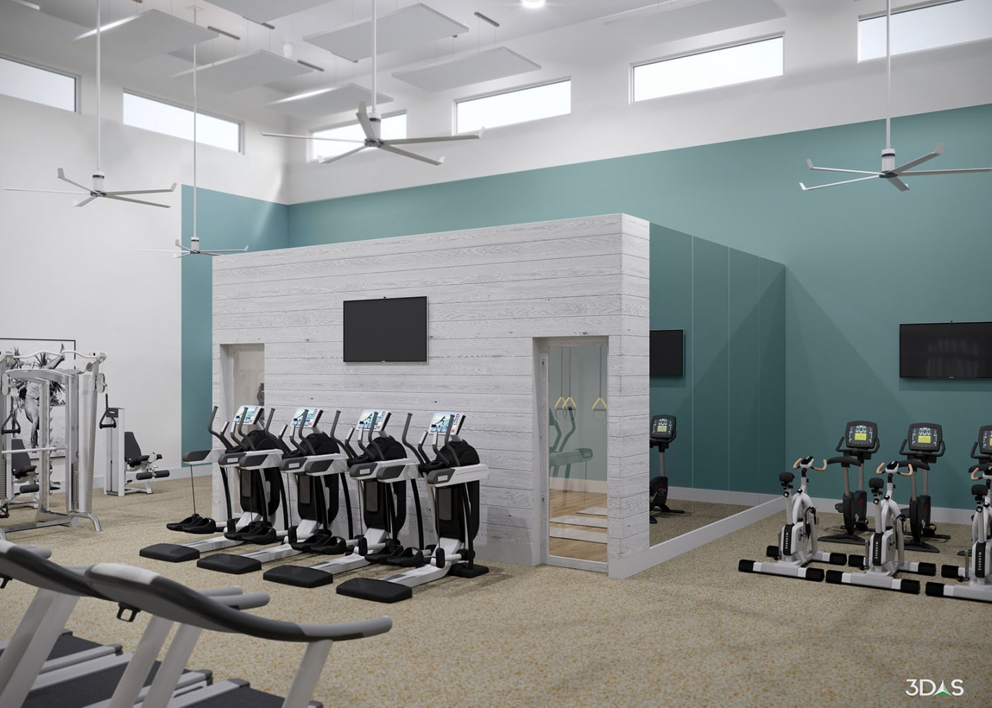 Solano Fitness Area Interior 3D Rendering