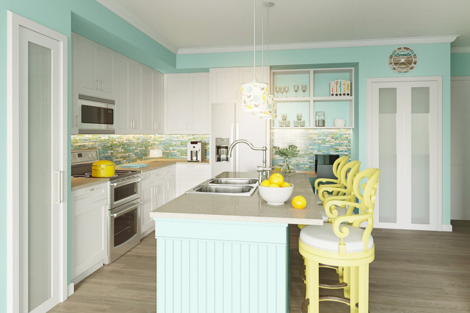 Floridian Kitchen Version A. 3D rendering for testing backsplash, counter tops, chairs, accessories, flooring, and cabinetry.