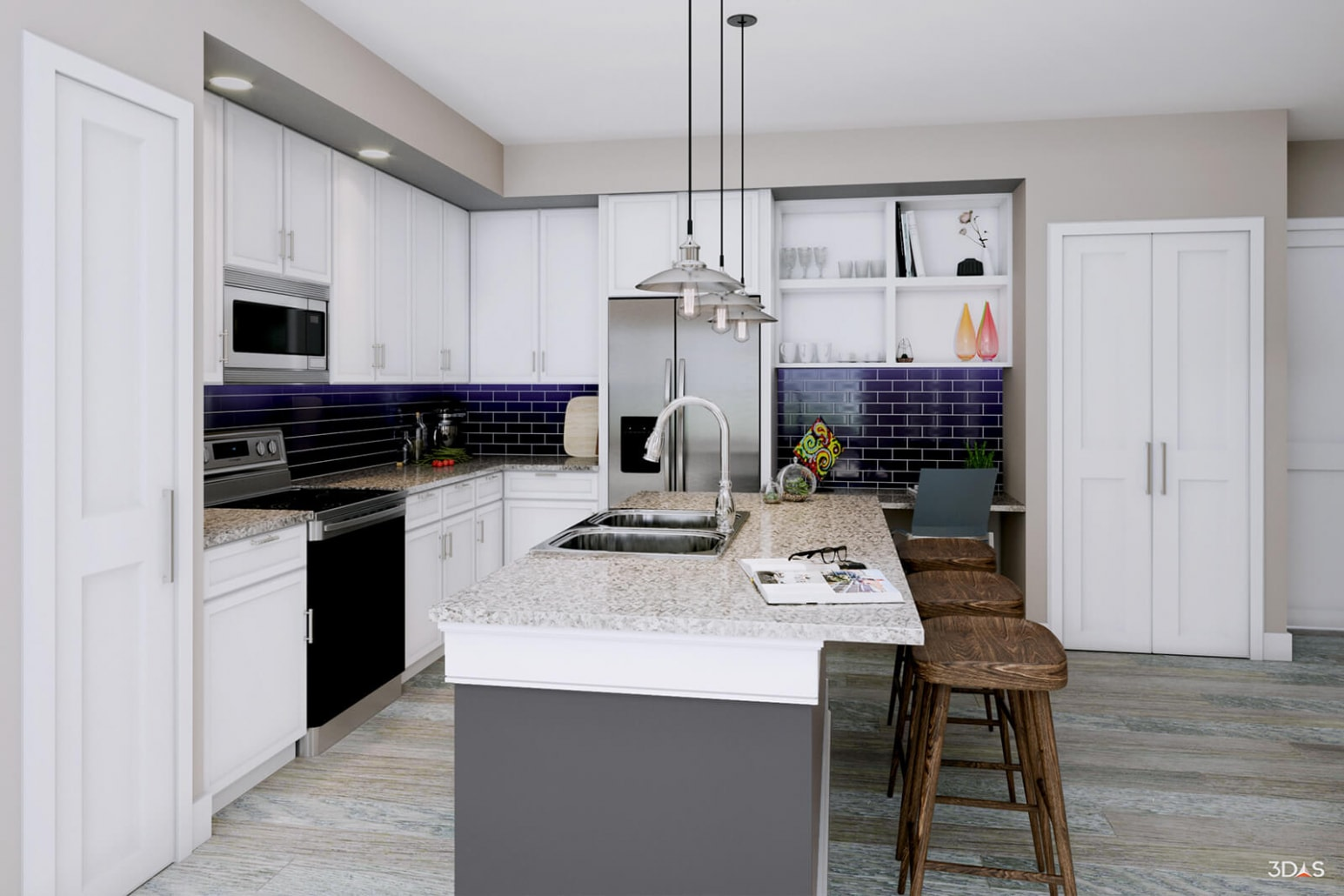 Floridian Kitchen Version C. 3D rendering for testing backsplash, counter tops, chairs, accessories, flooring, and cabinetry.