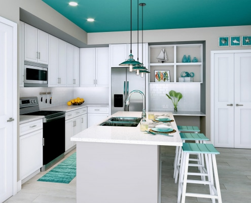 Floridian Kitchen Version E. 3D rendering for testing backsplash, counter tops, chairs, accessories, flooring, and cabinetry.