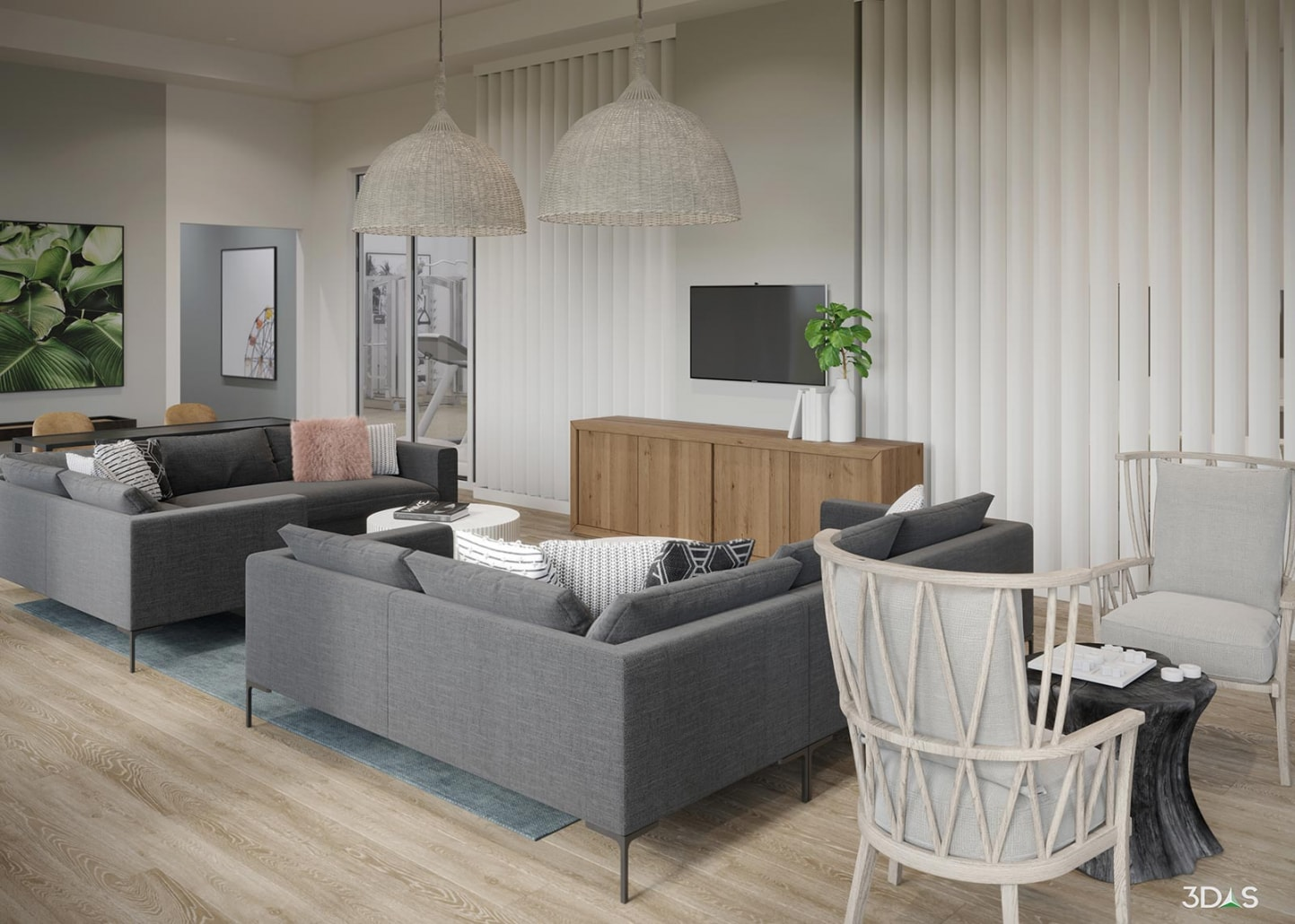 Solano Resident Lounge Area 3D Rendering
