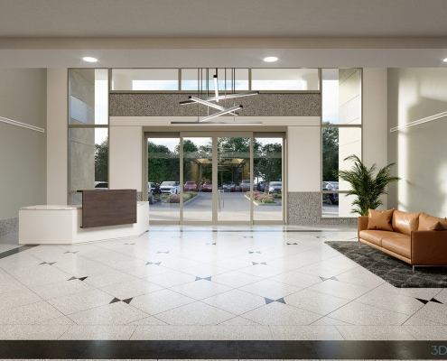 Waterford Center Rear Lobby 3D Rendering