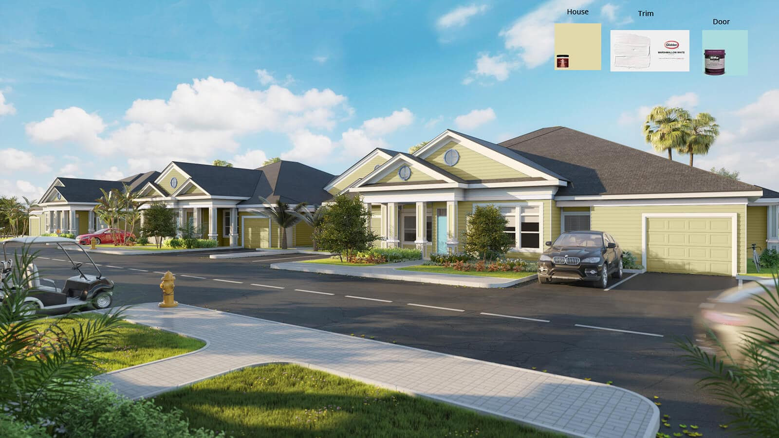 Floridian Villa Color Set A. 3D rendering for testing housing, trim and door colors.