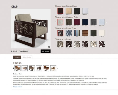 The e-commerce furniture selector system uses a Mix and Match system which allows one object to be layered on top of another object.