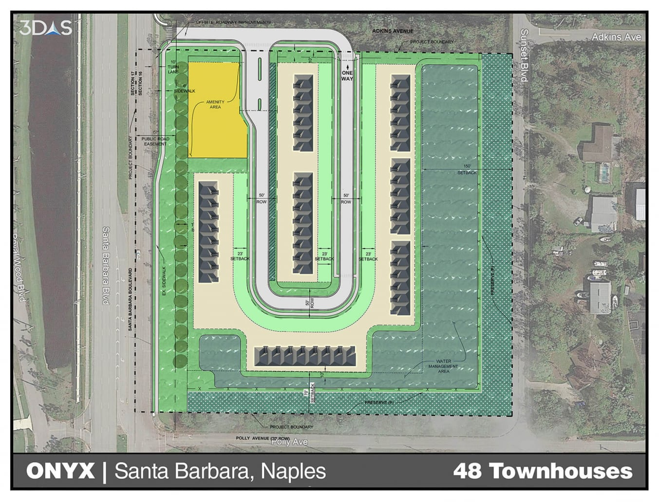 Initial site map of Onyx / Polly avenue community located off of Santa Barbara road in Naples, Florida.