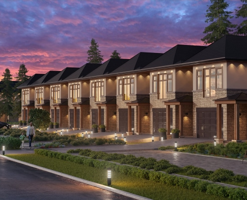 3D Rendering of Onyx / Polly residential community at sunset. Finished in 4 days, no CAD.