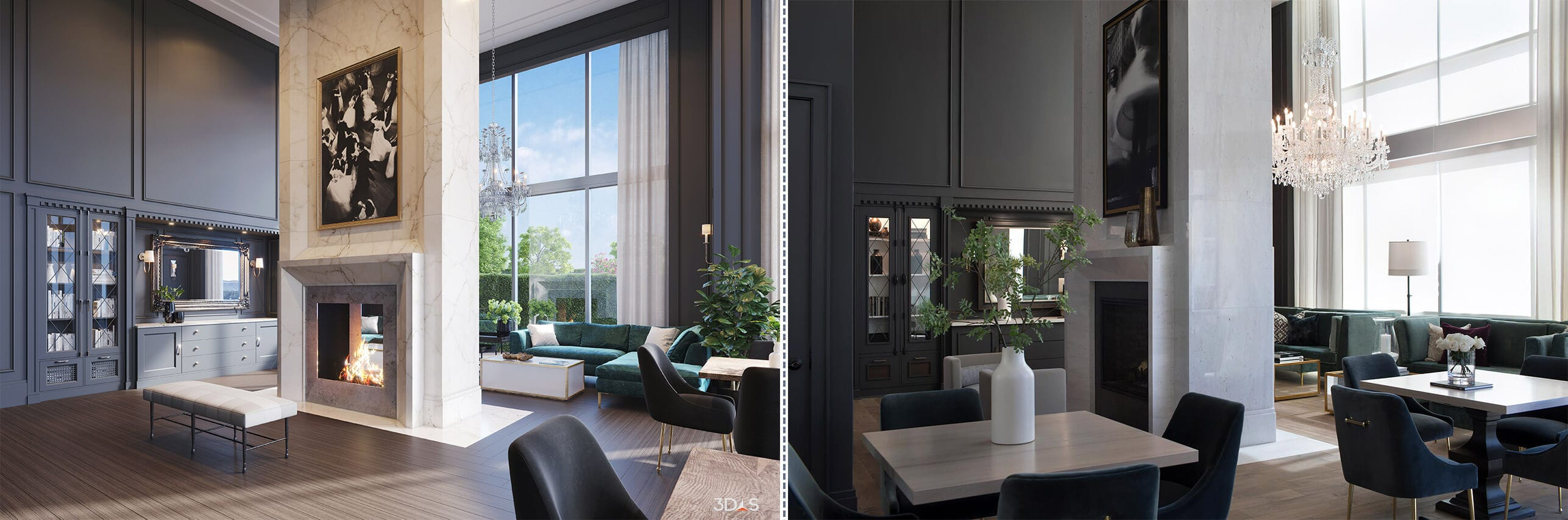 3D Rendering or Photo - Which is the Better Huntley Park Avenue Clubroom Interior Image?